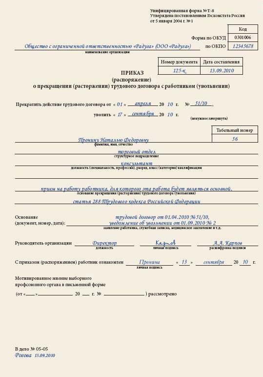 приказ об увольнении совместителя