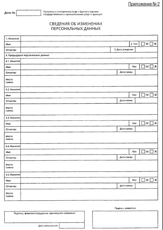 Как выглядит приложение №2 для анкеты на загранпаспорт старого образца