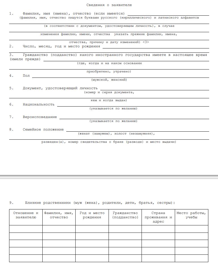 Основные требования к заполнению ВНЖ