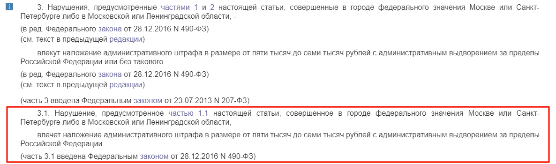 Ответственность за неуведомление об пребывании по РВП в Москве и СПБ