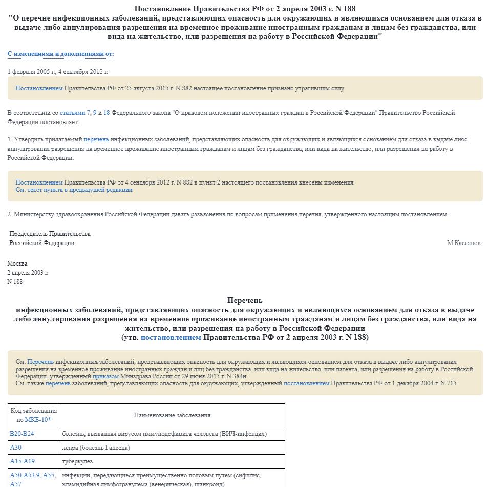 ПП РФ №188 (от 02.04.2003)