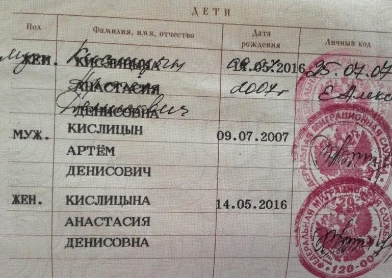Процедура вписывания детей в паспорт родителя