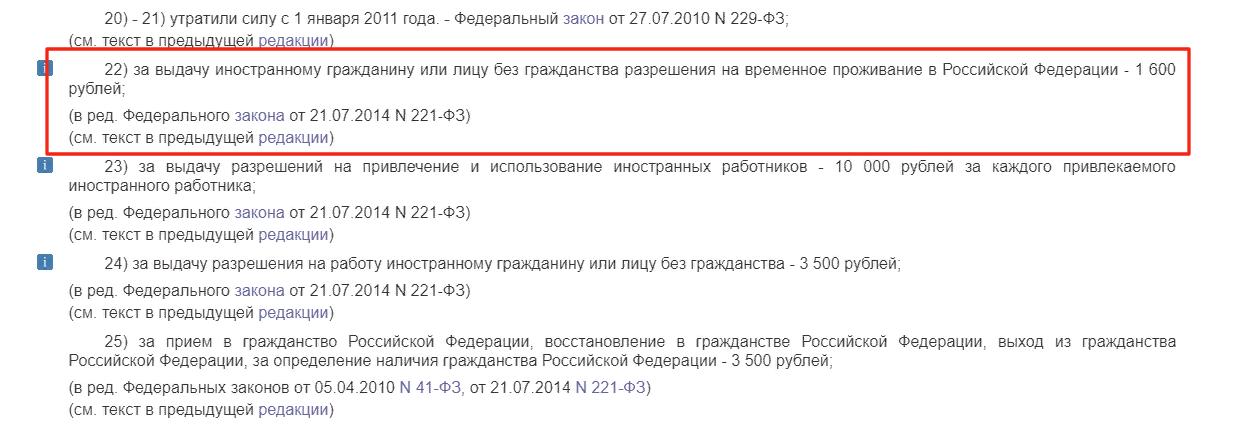 Размер госпошлины за РВП в России