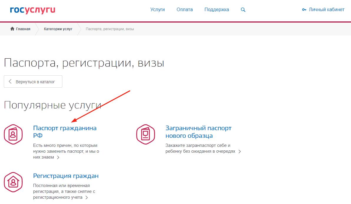 Замена паспорта гражданина РФ через Госуслуги в другом городе